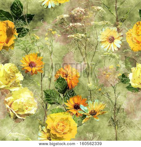 art vintage watercolor floral seamless pattern with yellow and old gold roses, peonies, asters, leaves and grasses on green background