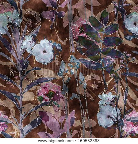 art vintage watercolor floral seamless pattern with lilac and blue roses, peonies, asters, leaves and grasses on dark brown background