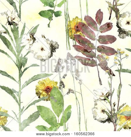 art vintage watercolor floral seamless pattern with asters, leaves and grasses on white background