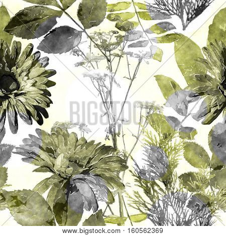 art vintage watercolor floral seamless pattern with monochrome green gold and grey asters, leaves and grasses on white background