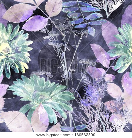 art vintage watercolor floral seamless pattern with monochrome lilac and green asters, leaves and grasses on blue background
