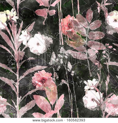 art vintage watercolor floral seamless pattern with roses, asters, leaves and grasses on black background