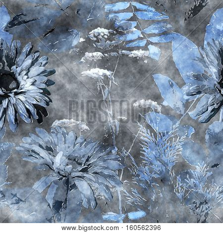 art vintage watercolor floral seamless pattern with monochrome blue asters, leaves and grasses on dark grey background