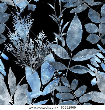 art vintage watercolor floral seamless pattern with monochrome blue leaves and grasses on black background