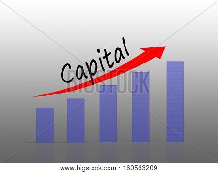 Illustration of Capital growth concept Bar Graph