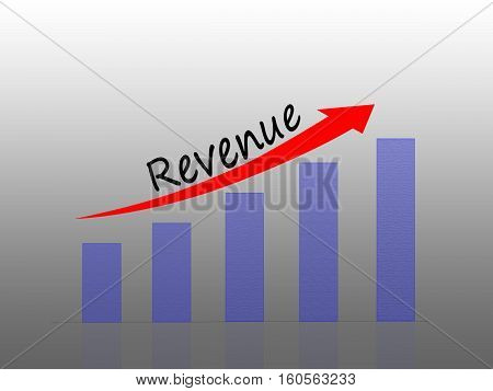 Illustration of Bar graph showing increase in revenue