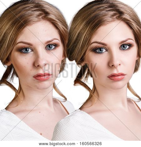 Comparison portrait of young blond woman before and after retouch