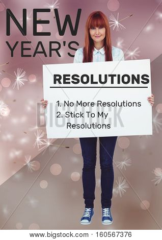 Smiling woman holding a placard with list of new year resolutions goals