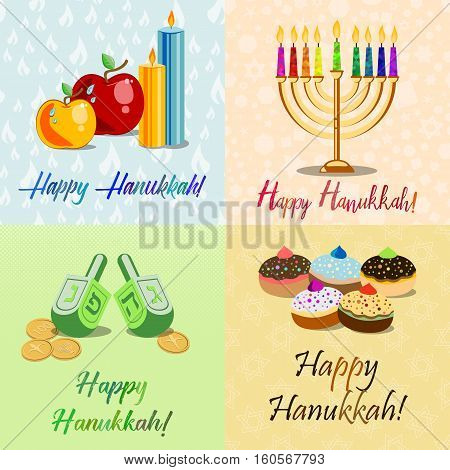 Postcards for Festival of Lights Feast of Dedication Hanukkah with menorah dreidels sufganiots candles and apples on different colorful backgrounds with Hanukkah elements. Vector illustration