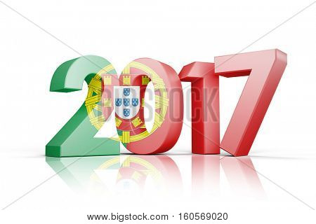 Portugal national flag against illustration of new year number
