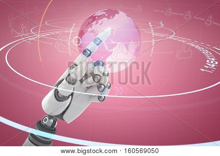 Close up of shiny robot hand against digital image of earth with light trail