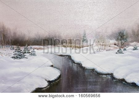 Texture Oil Painting, Impressionism  Winter Landscape