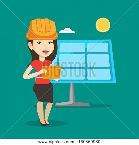 Engineer working on digital tablet at solar power plant. Caucasian female worker of solar power plant. Engineer in hard hat checking solar panel setup. Vector flat design illustration. Square layout