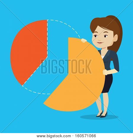 Caucasian female shareholder taking her share of financial pie chart. Young shareholder getting her share of profit. Business woman sharing profit. Vector flat design illustration. Square layout.