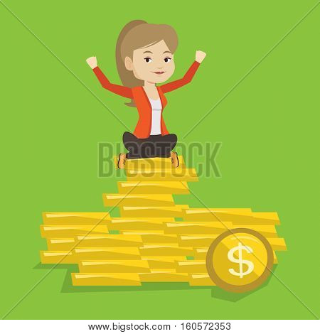 Caucasian business woman sitting on stack of golden coins. Cheerful business woman sitting on a pile of golden coins. Business woman on gold coins. Vector flat design illustration. Square layout.