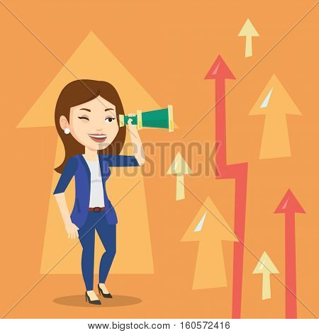 Caucasian business woman looking through spyglass on arrows going up symbolizing business opportunities. Business vision and opportunities concept. Vector flat design illustration. Square layout.