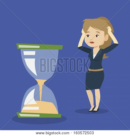 Caucasian business woman looking at hourglass symbolizing deadline. Business woman worrying about deadline terms. Time management and deadline concept. Vector flat design illustration. Square layout.