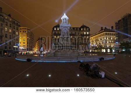 Lyon, France, December 7, 2016 : Fountain On Place Des Jacobins. The Festival Of Lights (french: Fet