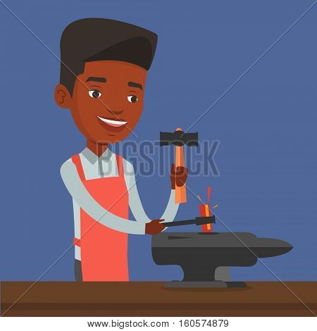 An african blacksmith working metal with hammer on the anvil in the forge. Blacksmith at work in smithy. Blacksmith forging the molten metal on anvil. Vector flat design illustration. Square layout.