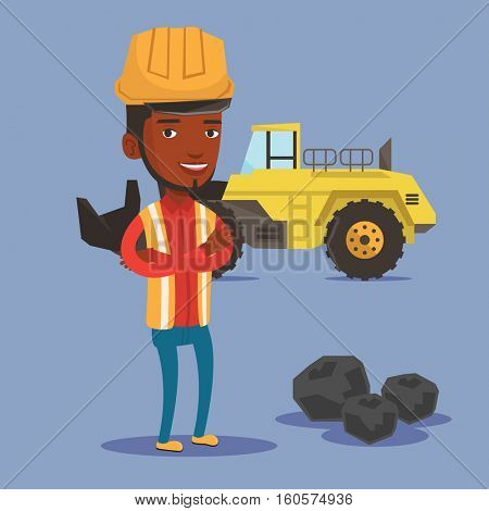 An african-american smiling miner in hard hat standing on the background of a big excavator. Confident miner with crossed arms standing near coal. Vector flat design illustration. Square layout.