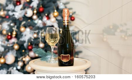 Wine in Christmas setting. New Year decorations. Winter holidays theme