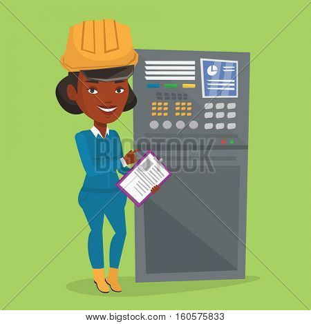 African-american woman working on control panel. Worker pressing button at control panel. Engineer with clipboard standing in front of the control panel. Vector flat design illustration. Square layout