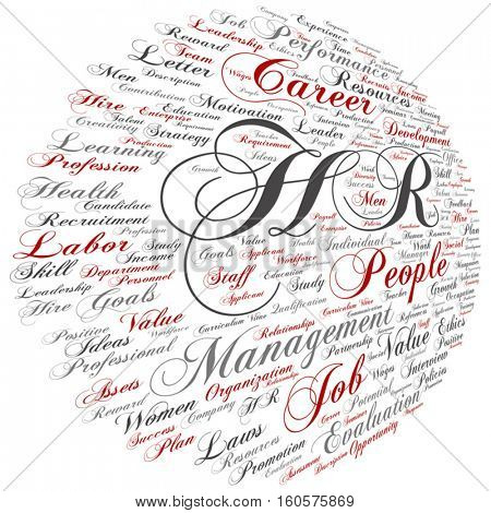 Vector concept hr or human resources management abstract round word cloud isolated on background