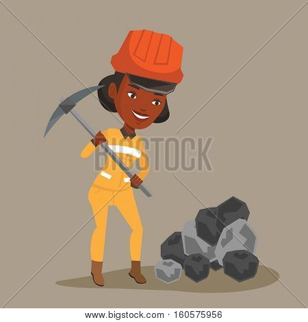 An african-american female miner in hard hat working with a pickaxe. Female miner working at the coal mine. Young female miner at work. Vector flat design illustration. Square layout.