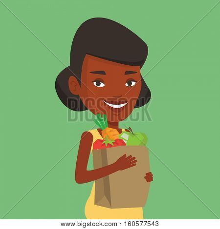 An african woman carrying grocery shopping bag with vegetables. Woman holding grocery shopping bag with healthy food. Girl with grocery shopping bag. Vector flat design illustration. Square layout