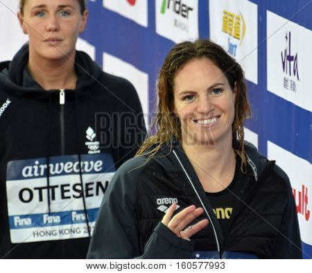Hong Kong China - Oct 29 2016. SEEBOHM Emily (AUS) and Jeanette OTTESEN (DEN) at the Victory Ceremony of the Women'sFreestyle 50m. FINA Swimming World Cup Victoria Park Swimming Pool.