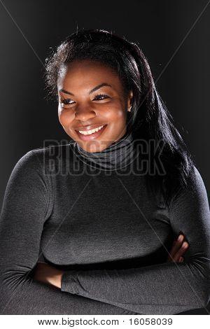 Beautiful Young Black Girl In Grey Polo Neck Shirt
