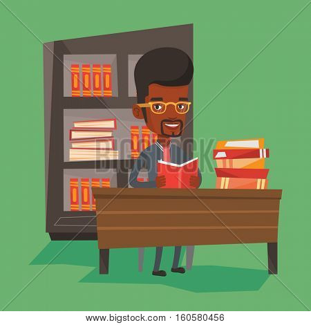 Student sitting at the table and holding a book in hands. Student reading a book. An african-american student reading a book and preparing for exam. Vector flat design illustration. Square layout.