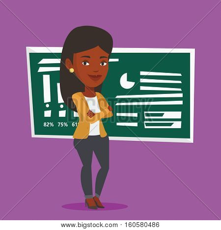 An african-american female teacher standing in classroom. Smiling teacher standing in front of chalkboard. Female teacher standing with folded arms. Vector flat design illustration. Square layout.