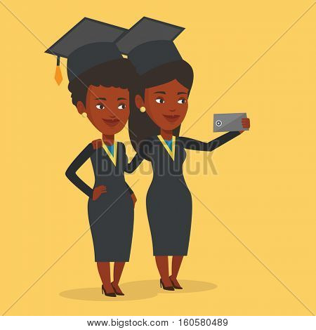 Cheerful graduates in cloaks and graduation caps making selfie. Happy graduates making selfie with cellphone. African-american graduates making selfie. Vector flat design illustration. Square layout.