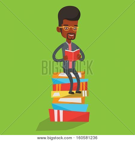 Young african-american student sitting on huge pile of books. Happy student reading book. Smiling man sitting on stack of books with book in hands. Vector flat design illustration. Square layout.