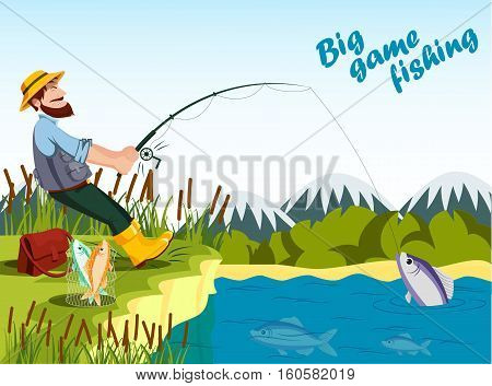 Fisherman fishing at lake with rod and catching fish. Sport outdoor fishing or fisherman relaxation at his hobby, bucket with fish and reed, mountain landscape.Old fisherman catching fish illustration,