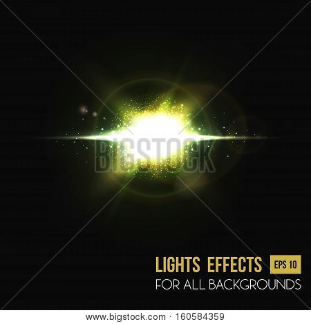 Sun light effects and abstract lens background. Illuminated sun or star at sunset or sunrise. Perfect for flyer or poster backdrop, light effect background, sunbeam sunlight effect or bright radiance
