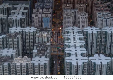 Residential buildings roofs in Hong Kong city, China, aerial view from Harbourfront center