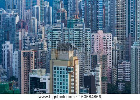 Skyscrapers and modern tall residential buildings in Hong Kong, China, view from China Merchants Tower