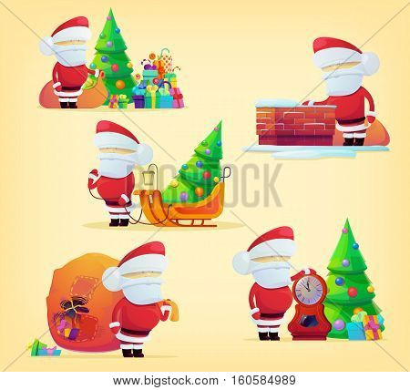 Set of santa claus with bag for 2017 new year and xmas. Christmas holiday festive with santa claus and sledge logo with gifts and presents. For winter greeting card banner, set of santa claus logo