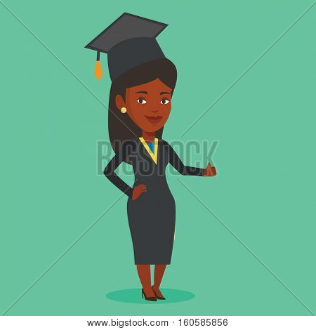 Happy female graduate in cloak and graduation cap. African-american graduate giving thumb up. Joyful female graduate celebrating. Concept of education. Vector flat design illustration. Square layout.
