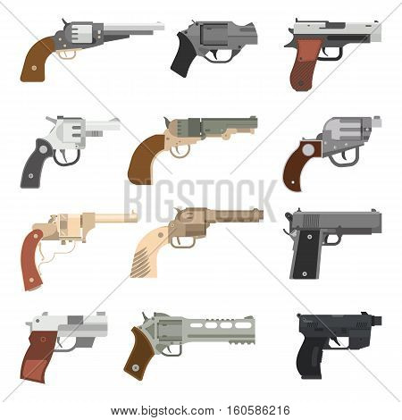 Weapons vector handguns set. Pistols, submachine hand guns icons. Silhouette handguns set isolated on white background. Military bullet handgun ammunition army tool.
