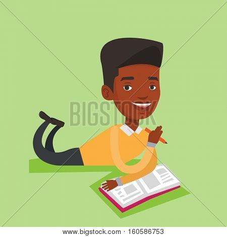 An african-american smiling student laying on the floor and reading a book. Student laying with a notebook. Student writing while laying on the floor. Vector flat design illustration. Square layout.