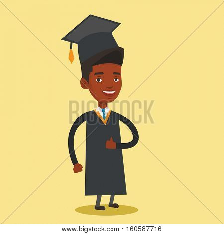 Happy cheerful graduate in cloak and graduation cap. An african-american graduate giving thumb up. Joyful graduate celebrating. Concept of education. Vector flat design illustration. Square layout.