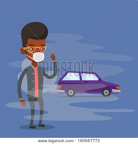Man standing on the background of car with traffic fumes. Man wearing mask to reduce the effect of traffic pollution. Concept of toxic air pollution. Vector flat design illustration. Square layout