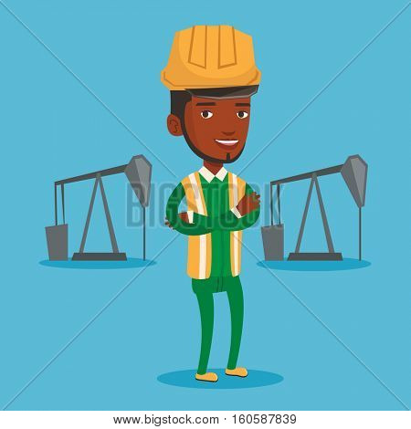 An african-american oil worker in uniform and helmet. Cnfident oil worker standing with crossed arms. Oil worker standing on the background of pump jack. Vector flat design illustration. Square layout