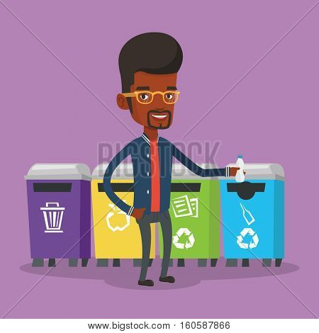 African-american man throwing away garbage. Man standing near four bins and throwing away garbage in an appropriate bin. Concept of garbage separation. Vector flat design illustration. Square layout.