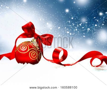 Christmas Holiday Background with Red Bauble, Ribbon, Snow and Snowflakes. Xmas and New Year scene, Gift