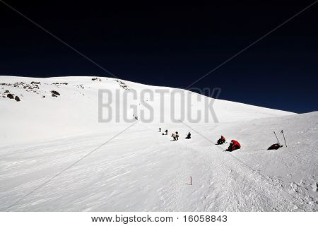 Climbing at the peak Elbrus, Caucasus