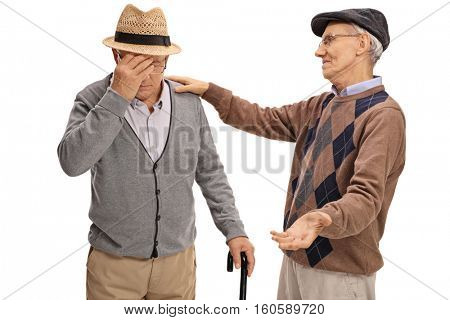 Senior comforting another senior isolated on white background